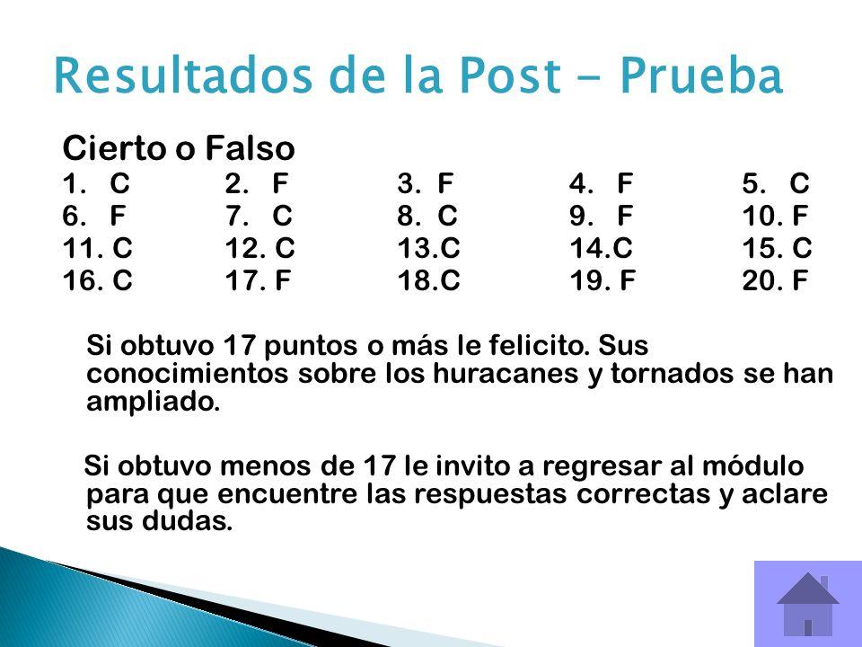 Cierto o Falso 1. C 2. F3. F4. F5. C 6. F7. C8. C9. F 10. F 11. C12. C13.C14.C15. C 16. C17. F18.C19. F20. F Si obtuvo 17 puntos o más le felicito. Su