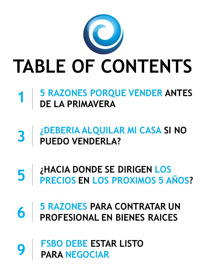 TABLE OF CONTENTS 5 RAZONES PORQUE VENDER ANTES DE LA PRIMAVERA ¿DEBERIA ALQUILAR MI CASA SI NO PUEDO VENDERLA? 5 RAZONES PARA CONTRATAR UN PROFESIONA