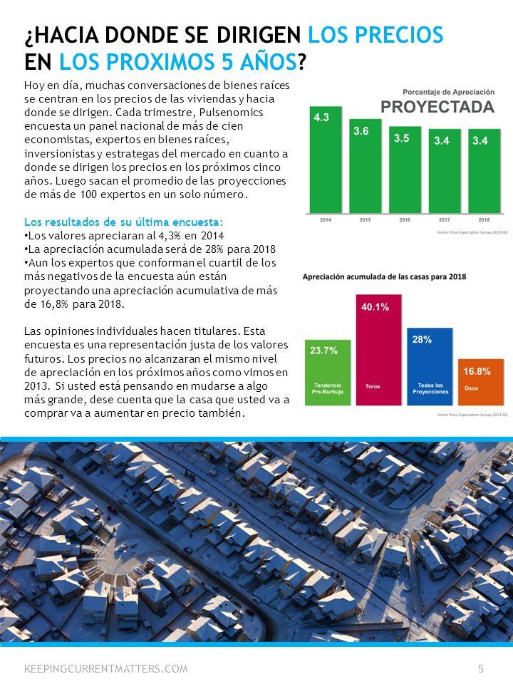 ¿HACIA DONDE SE DIRIGEN LOS PRECIOS EN LOS PROXIMOS 5 AÑOS? Hoy en día, muchas conversaciones de bienes raíces se centran en los precios de las vivien