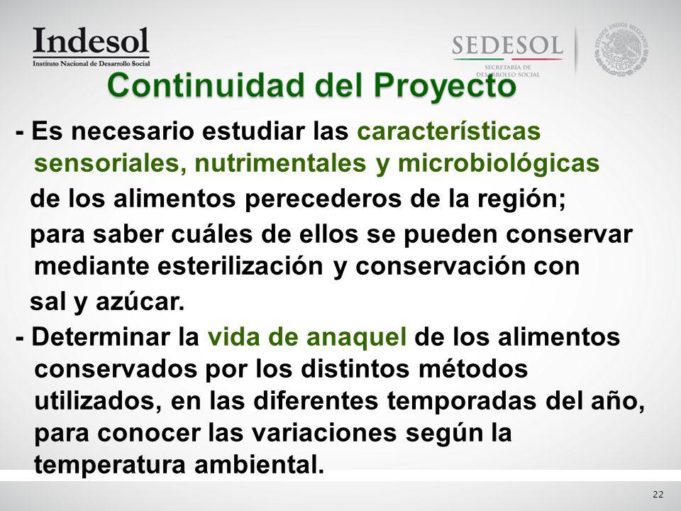 22 - Es necesario estudiar las características sensoriales, nutrimentales y microbiológicas de los alimentos perecederos de la región; para saber cuál