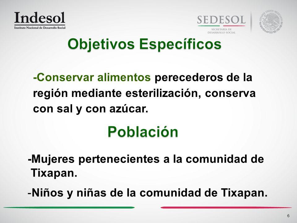 -Conservar alimentos perecederos de la región mediante esterilización, conserva con sal y con azúcar. 6 -Mujeres pertenecientes a la comunidad de Tixa