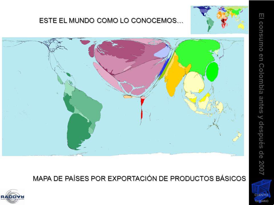 ESTE EL MUNDO COMO LO CONOCEMOS… MAPA DE PAÍSES POR EXPORTACIÓN DE PRODUCTOS BÁSICOS