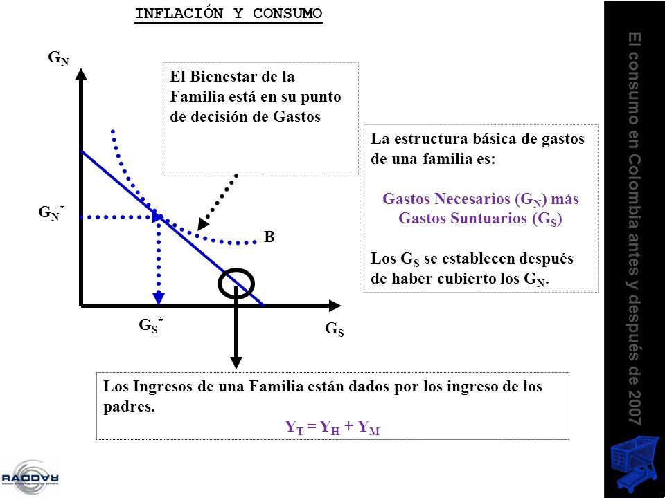 La estructura básica de gastos de una familia es: Gastos Necesarios (G N ) más Gastos Suntuarios (G S ) Los G S se establecen después de haber cubiert