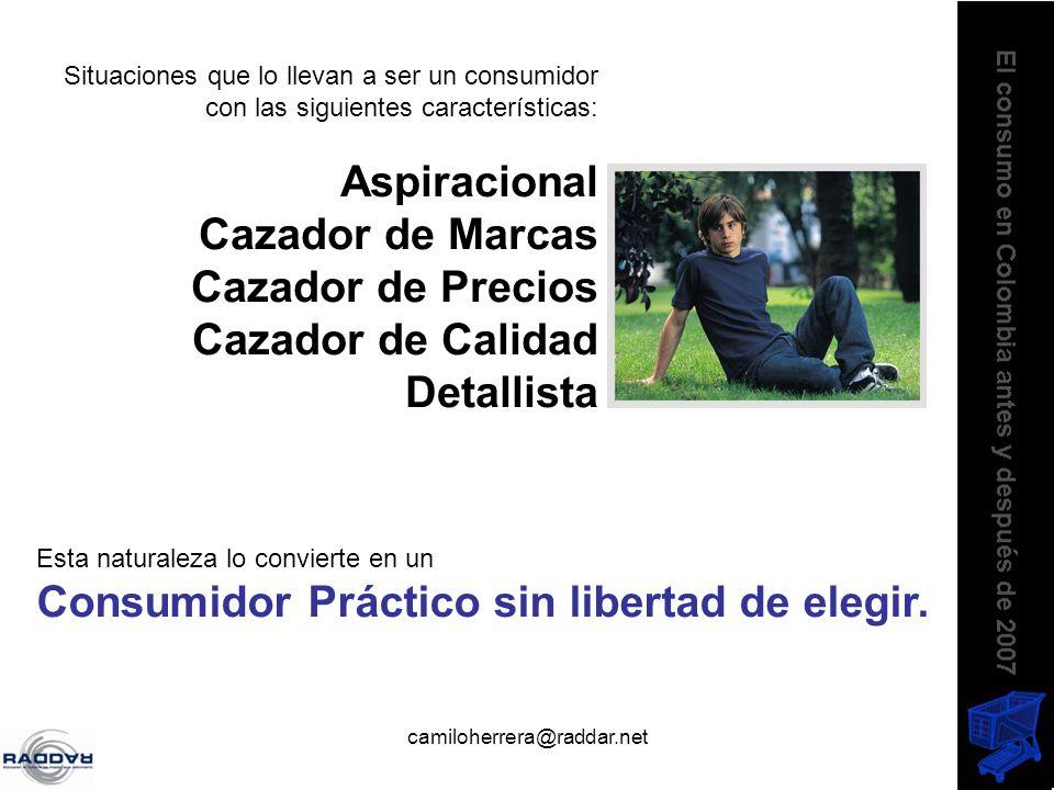 camiloherrera@raddar.net Situaciones que lo llevan a ser un consumidor con las siguientes características: Aspiracional Cazador de Marcas Cazador de P
