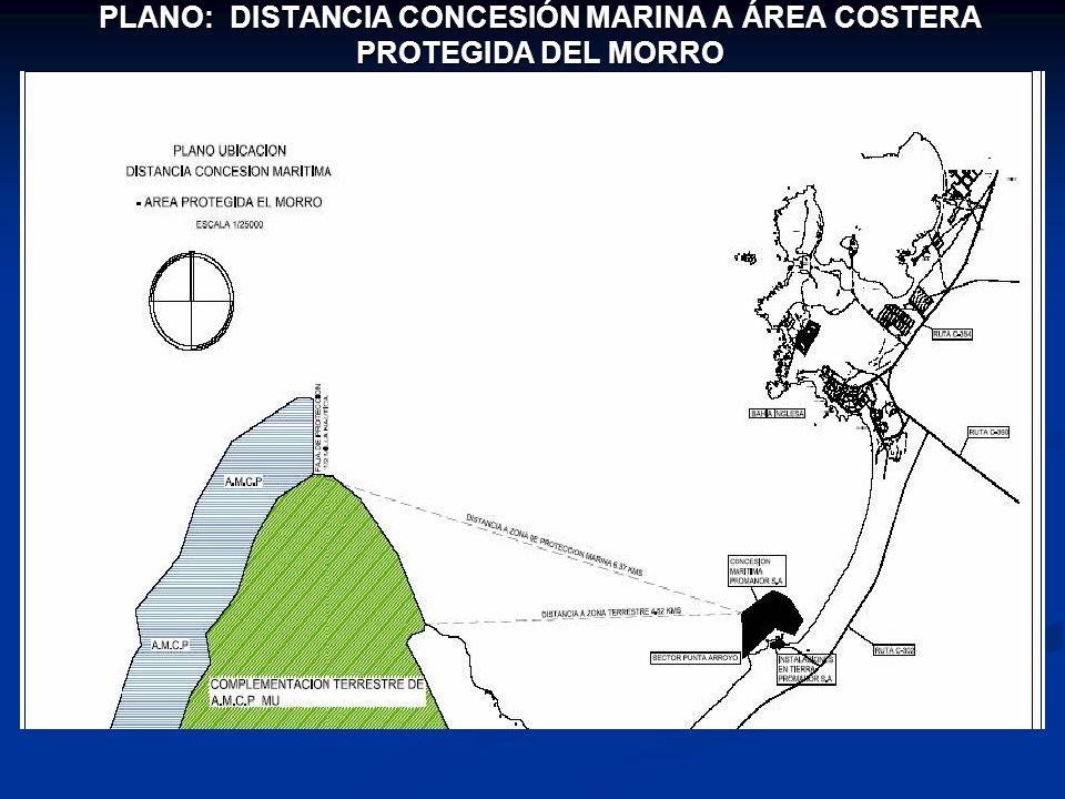 PLANO: DISTANCIA CONCESIÓN MARINA A ÁREA COSTERA PROTEGIDA DEL MORRO