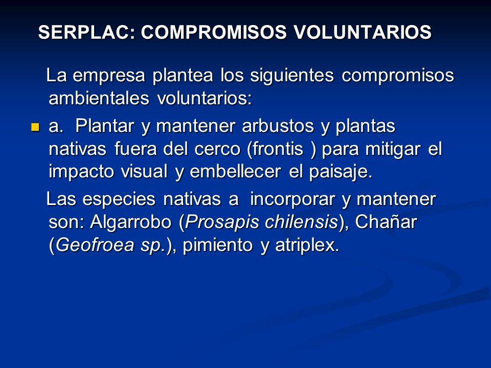 SERPLAC: COMPROMISOS VOLUNTARIOS La empresa plantea los siguientes compromisos ambientales voluntarios: La empresa plantea los siguientes compromisos