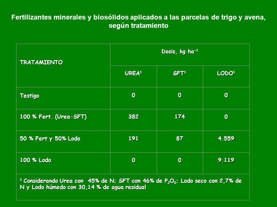 Fertilizantes minerales y biosólidos aplicados a las parcelas de trigo y avena, según tratamiento TRATAMIENTO Dosis, kg ha -1 UREA 1 SFT 1 LODO 1 Testigo000 100 % Fert.