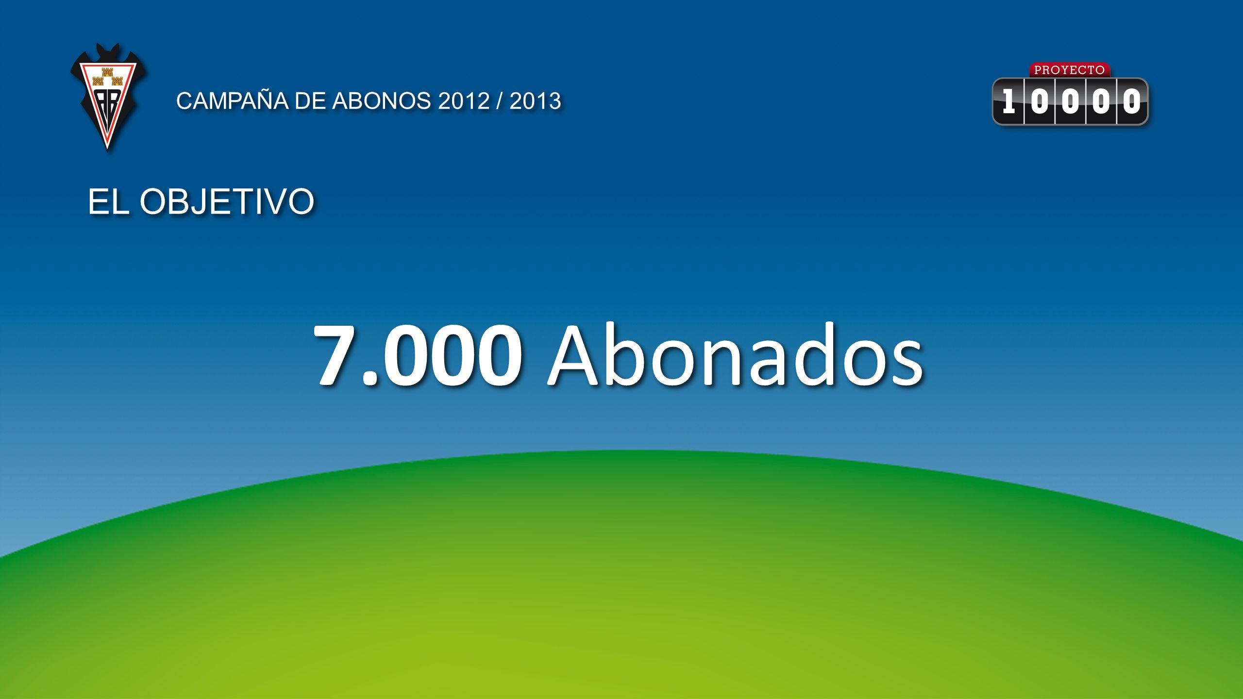 7.000 Abonados CAMPAÑA DE ABONOS 2012 / 2013 EL OBJETIVO