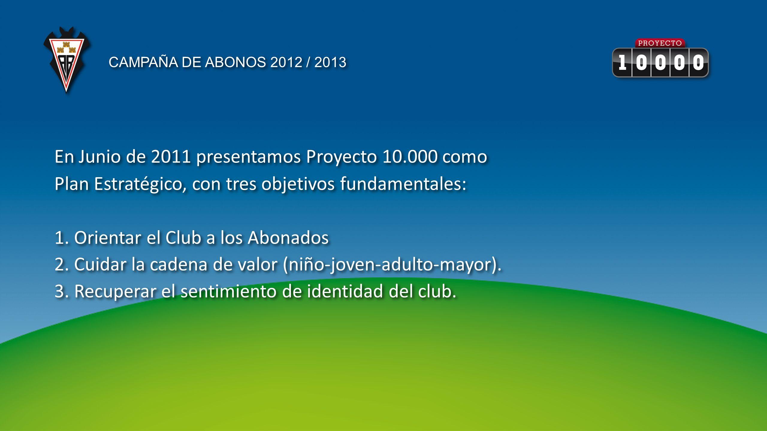 En Junio de 2011 presentamos Proyecto 10.000 como Plan Estratégico, con tres objetivos fundamentales: 1. Orientar el Club a los Abonados 2. Cuidar la