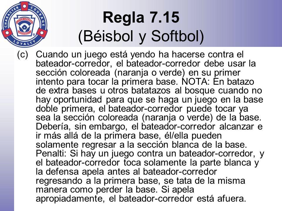 Regla 7.15 (Béisbol y Softbol) (c)Cuando un juego está yendo ha hacerse contra el bateador-corredor, el bateador-corredor debe usar la sección colorea
