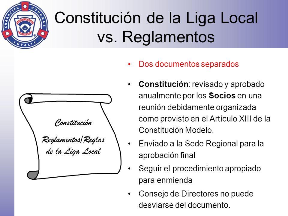 Constitución de la Liga Local vs. Reglamentos Constitución Reglamentos/Reglas de la Liga Local Dos documentos separados Constitución: revisado y aprob