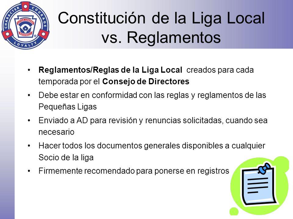 Constitución de la Liga Local vs. Reglamentos Reglamentos/Reglas de la Liga Local creados para cada temporada por el Consejo de Directores Debe estar