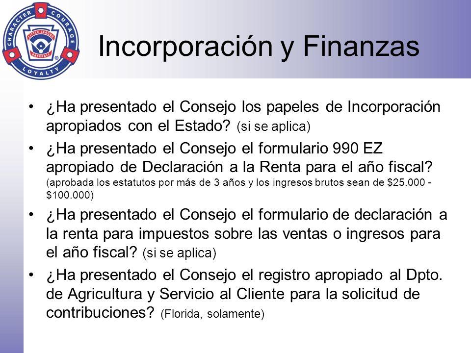 Incorporación y Finanzas ¿Ha presentado el Consejo los papeles de Incorporación apropiados con el Estado? (si se aplica) ¿Ha presentado el Consejo el