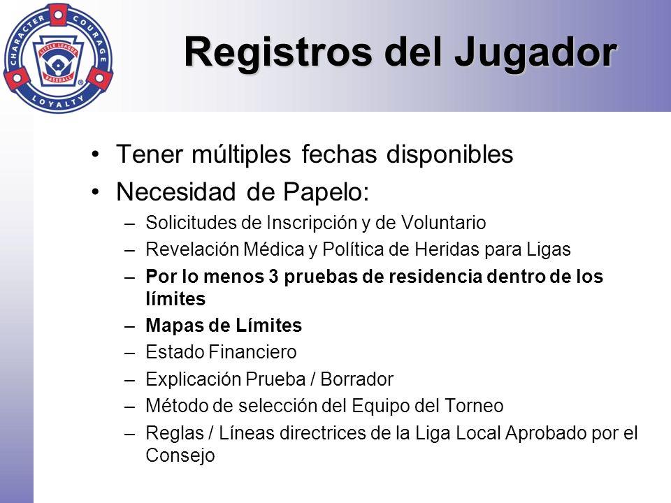 Registros del Jugador Tener múltiples fechas disponibles Necesidad de Papelo: –Solicitudes de Inscripción y de Voluntario –Revelación Médica y Polític
