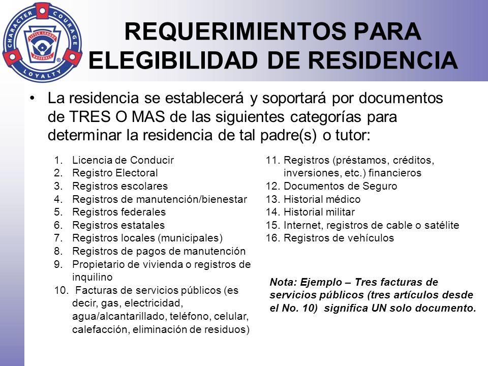 REQUERIMIENTOS PARA ELEGIBILIDAD DE RESIDENCIA La residencia se establecerá y soportará por documentos de TRES O MAS de las siguientes categorías para