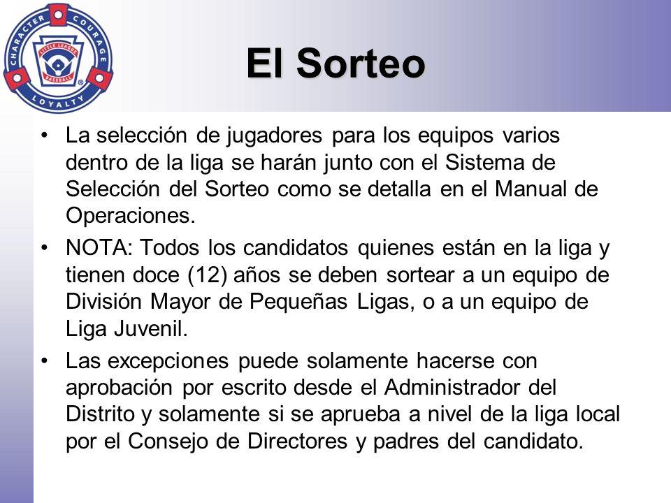 El Sorteo La selección de jugadores para los equipos varios dentro de la liga se harán junto con el Sistema de Selección del Sorteo como se detalla en