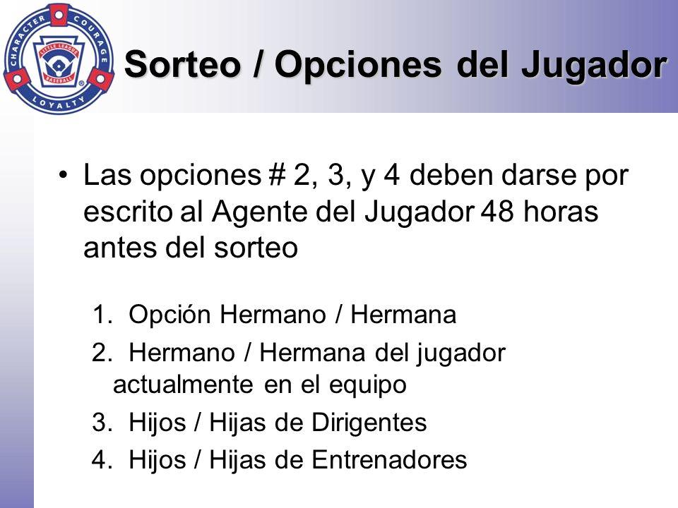 Sorteo / Opciones del Jugador Las opciones # 2, 3, y 4 deben darse por escrito al Agente del Jugador 48 horas antes del sorteo 1. Opción Hermano / Her