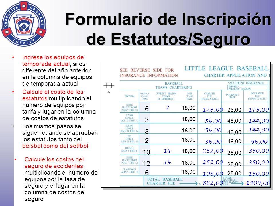 Estatutos/Seguro Sección Asegurados Adicionales Los asegurados adicionales para dueños de propiedades quienes necesiten añadirse a la política de Responsabilidad General de la liga (Artículo H) Para uso de la propiedad de la liga.