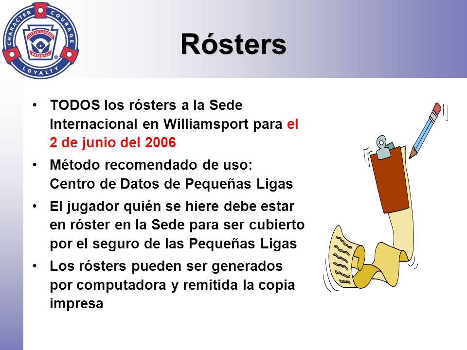 Rósters TODOS los rósters a la Sede Internacional en Williamsport para el 2 de junio del 2006 Método recomendado de uso: Centro de Datos de Pequeñas L