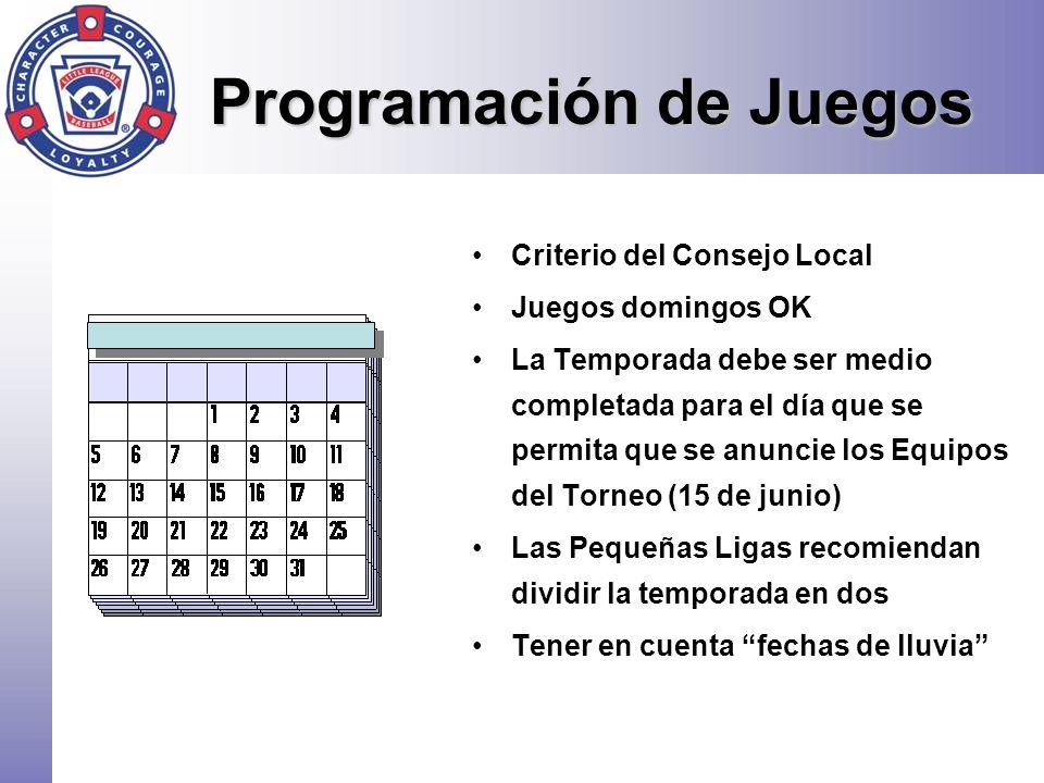 Programación de Juegos Criterio del Consejo Local Juegos domingos OK La Temporada debe ser medio completada para el día que se permita que se anuncie
