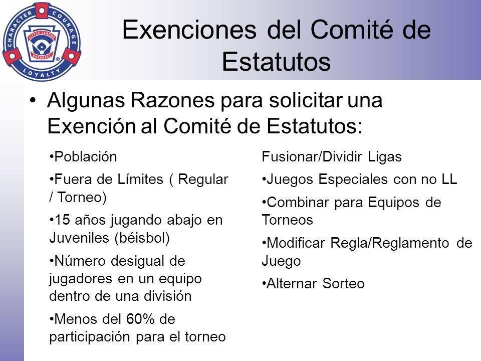 Exenciones del Comité de Estatutos Algunas Razones para solicitar una Exención al Comité de Estatutos: Población Fuera de Límites ( Regular / Torneo)