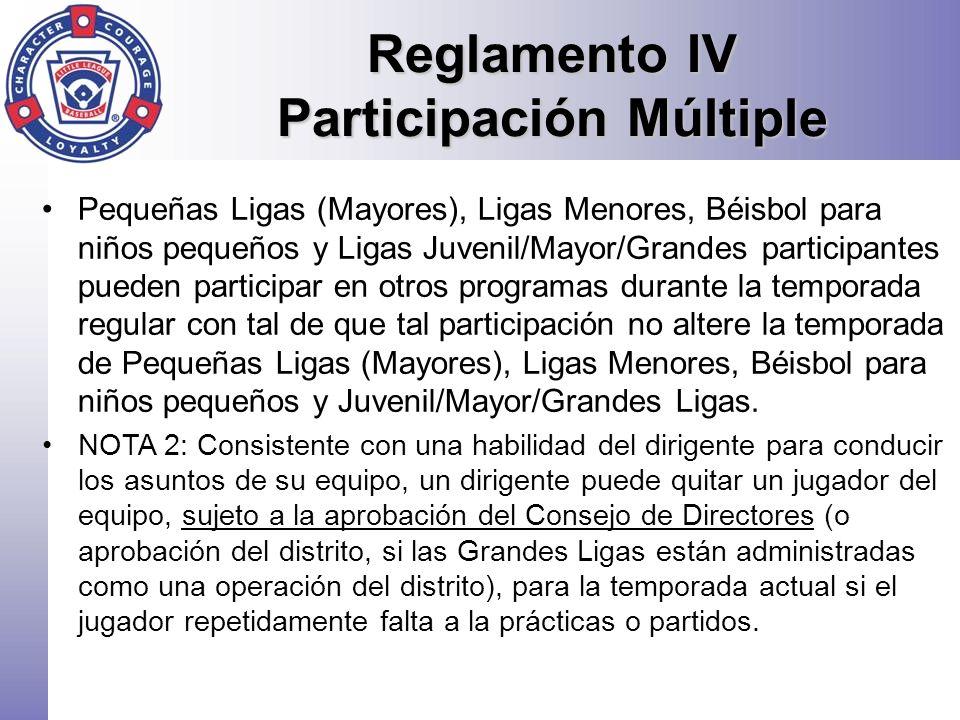 Reglamento IV Participación Múltiple Pequeñas Ligas (Mayores), Ligas Menores, Béisbol para niños pequeños y Ligas Juvenil/Mayor/Grandes participantes
