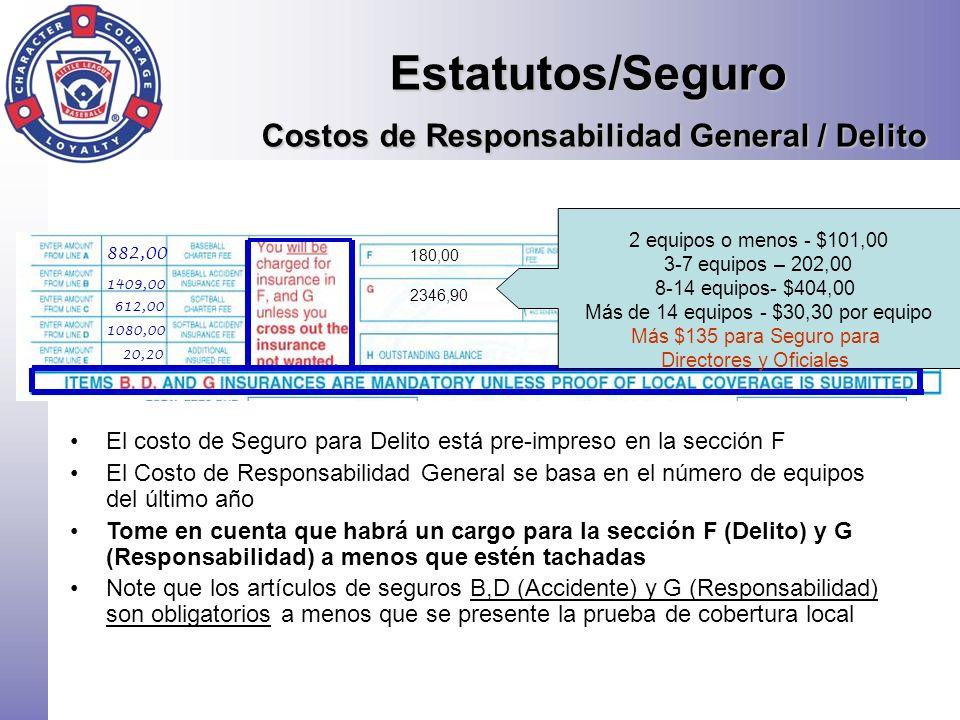 Estatutos/Seguro Costos de Responsabilidad General / Delito El costo de Seguro para Delito está pre-impreso en la sección F El Costo de Responsabilida