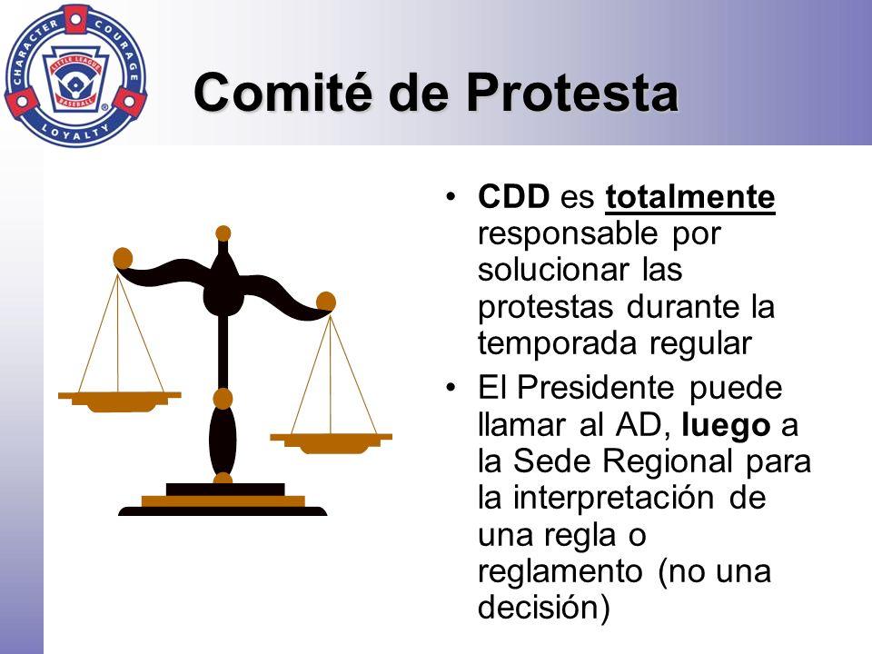 Comité de Protesta CDD es totalmente responsable por solucionar las protestas durante la temporada regular El Presidente puede llamar al AD, luego a l
