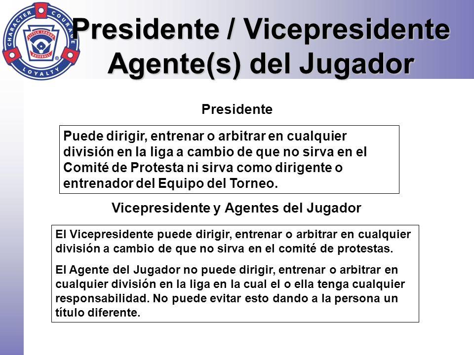 Presidente Puede dirigir, entrenar o arbitrar en cualquier división en la liga a cambio de que no sirva en el Comité de Protesta ni sirva como dirigen