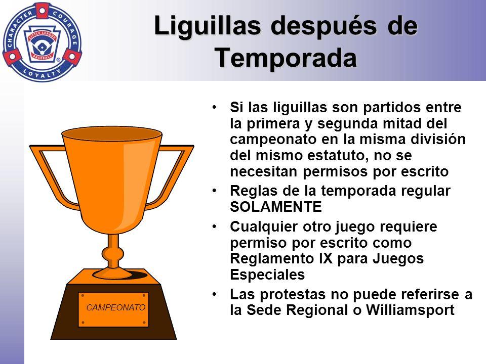 Liguillas después de Temporada Si las liguillas son partidos entre la primera y segunda mitad del campeonato en la misma división del mismo estatuto,