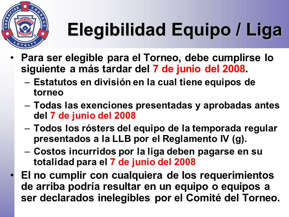 Elegibilidad Equipo / Liga Para ser elegible para el Torneo, debe cumplirse lo siguiente a más tardar del 7 de junio del 2008. –Estatutos en división