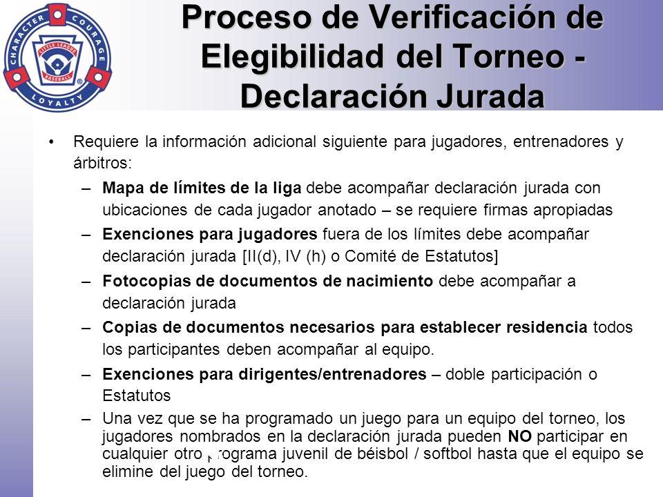Proceso de Verificación de Elegibilidad del Torneo - Declaración Jurada Requiere la información adicional siguiente para jugadores, entrenadores y árb