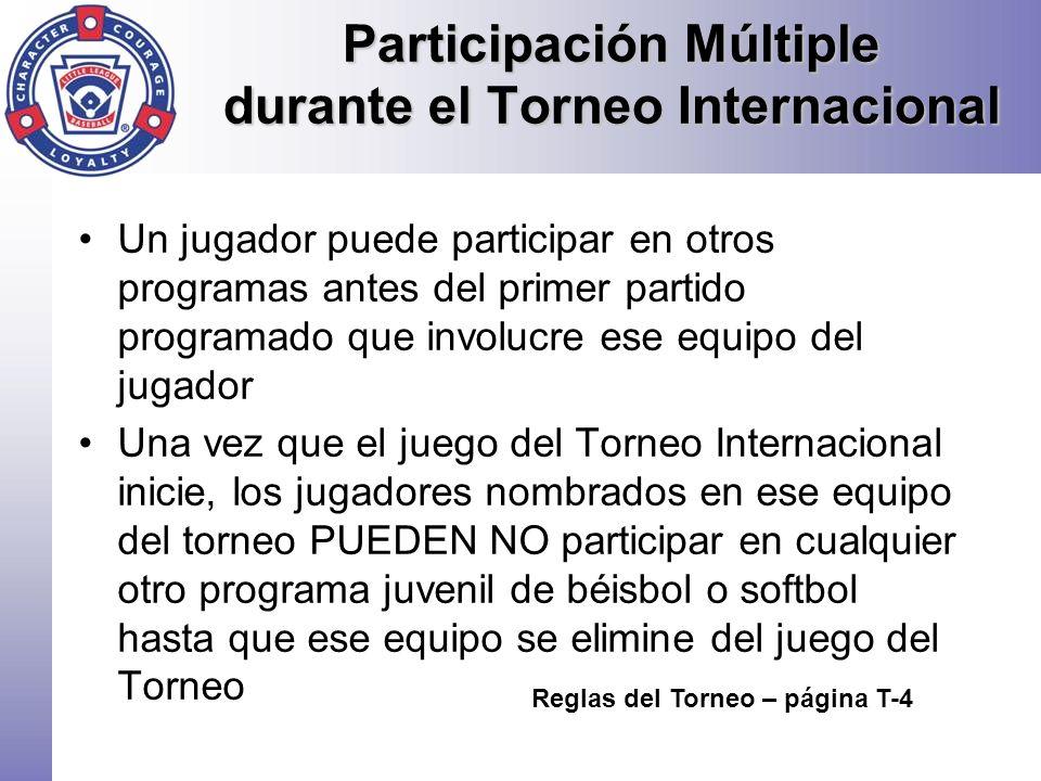 Participación Múltiple durante el Torneo Internacional Un jugador puede participar en otros programas antes del primer partido programado que involucr