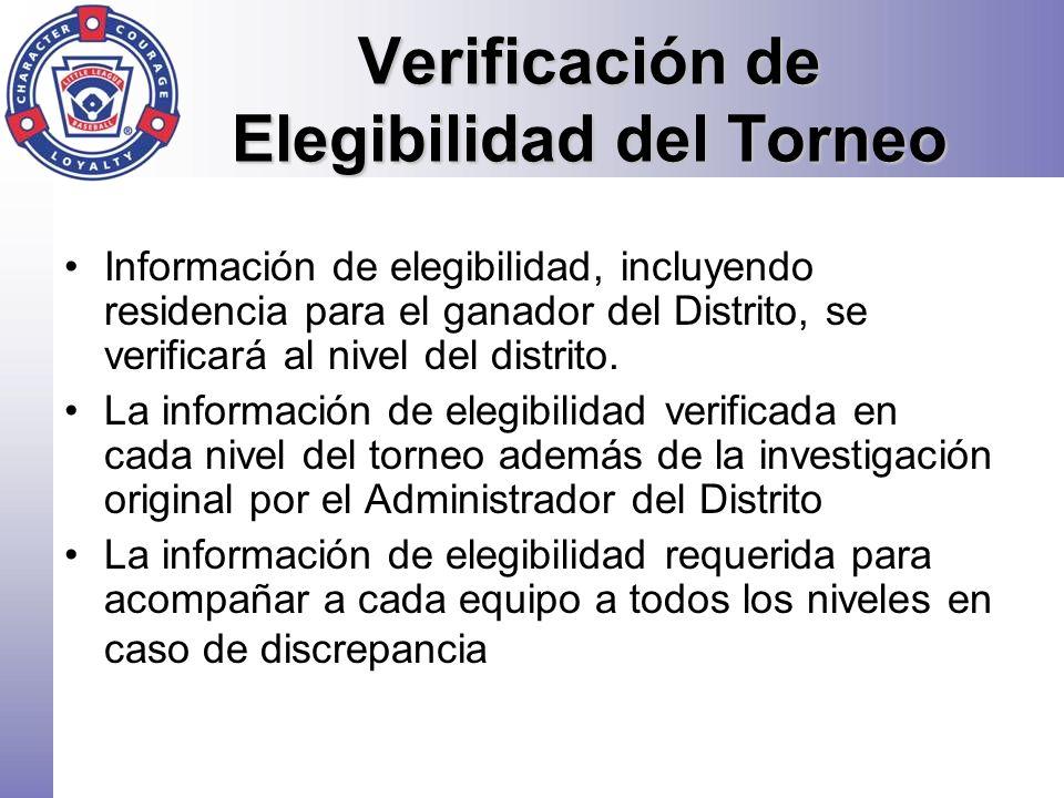 Verificación de Elegibilidad del Torneo Información de elegibilidad, incluyendo residencia para el ganador del Distrito, se verificará al nivel del di