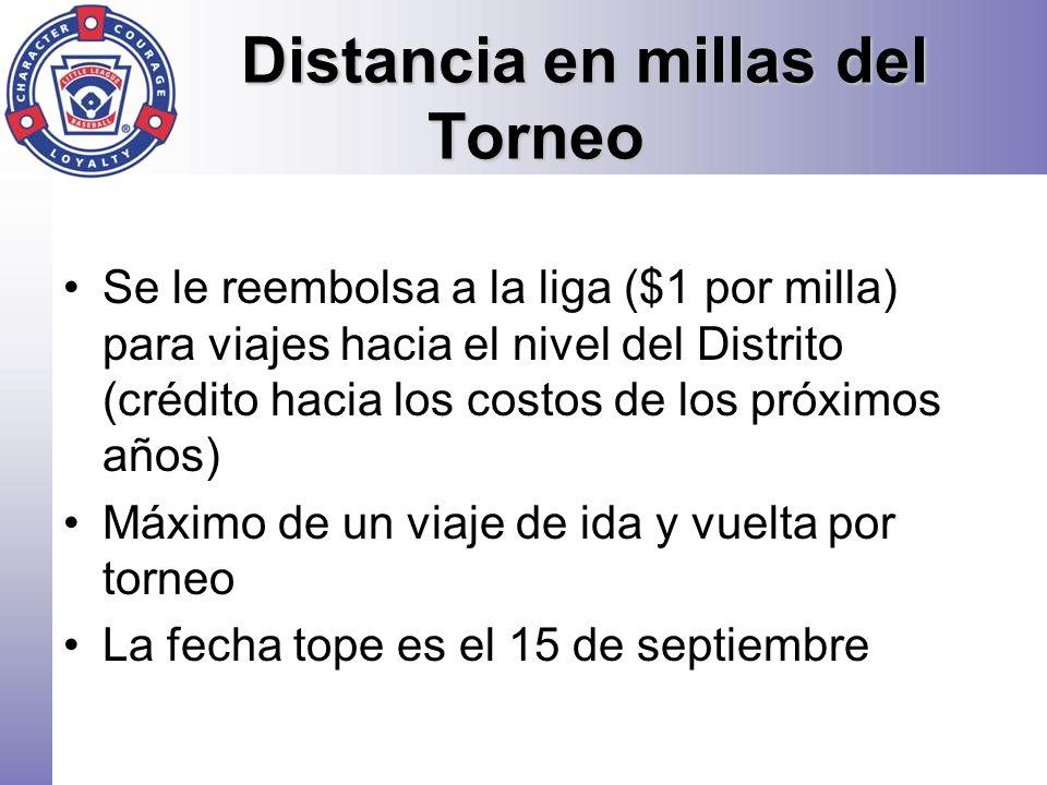 Distancia en millas del Torneo Se le reembolsa a la liga ($1 por milla) para viajes hacia el nivel del Distrito (crédito hacia los costos de los próxi
