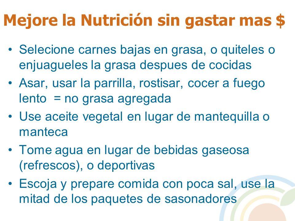 Mejore la Nutrición sin gastar mas $ Selecione carnes bajas en grasa, o quiteles o enjuagueles la grasa despues de cocidas Asar, usar la parrilla, ros