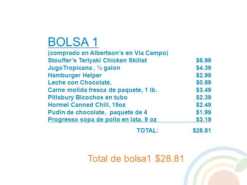BOLSA 1 (comprado en Albertsons en Via Campo) Stouffers Teriyaki Chicken Skillet$6.99 JugoTropicana, ½ galon $4.39 Hamburger Helper$2.99 Leche con Cho