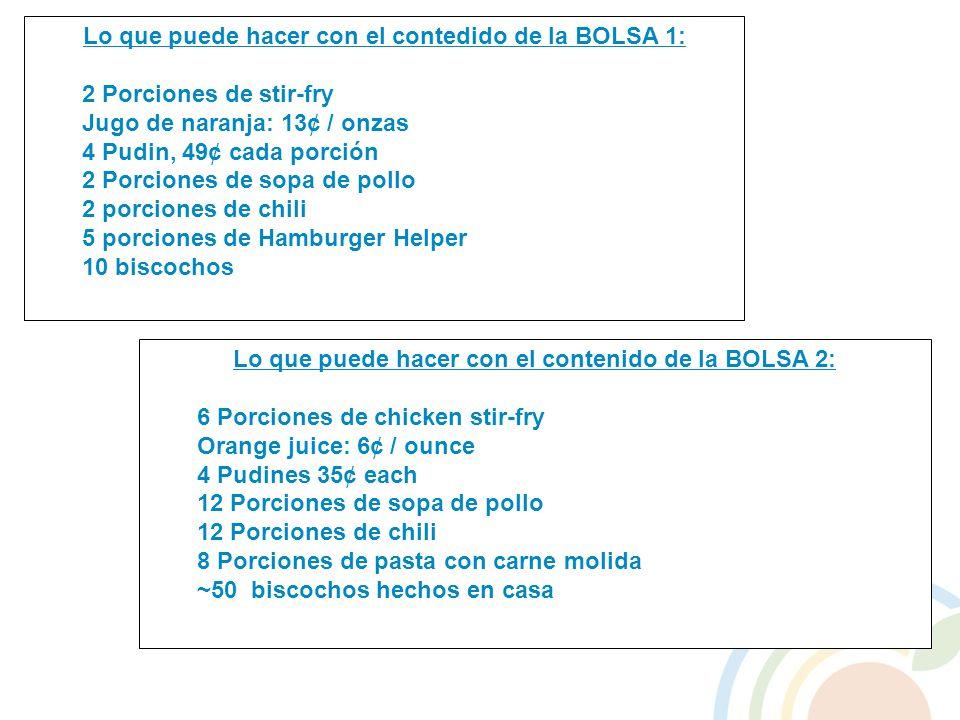 Lo que puede hacer con el contenido de la BOLSA 2: 6 Porciones de chicken stir-fry Orange juice: 6¢ / ounce 4 Pudines 35¢ each 12 Porciones de sopa de