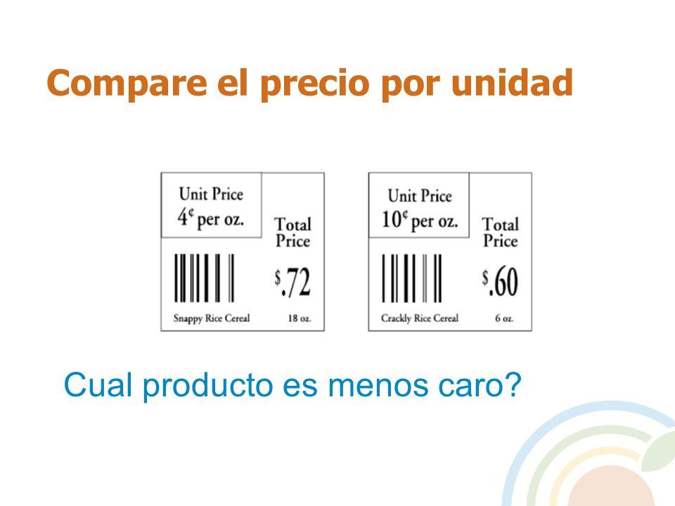 Compare el precio por unidad Cual producto es menos caro?