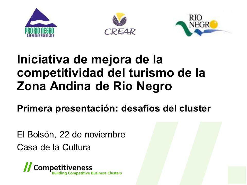 Iniciativa de mejora de la competitividad del turismo de la Zona Andina de Rio Negro Primera presentación: desafíos del cluster El Bolsón, 22 de novie