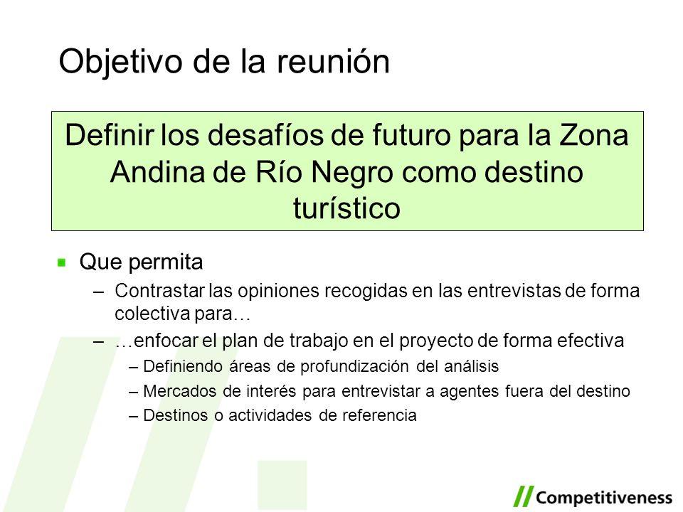 Objetivo de la reunión Definir los desafíos de futuro para la Zona Andina de Río Negro como destino turístico Que permita –Contrastar las opiniones re