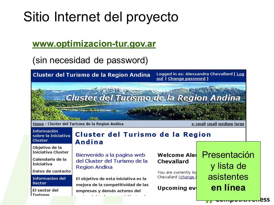 Sitio Internet del proyecto www.optimizacion-tur.gov.ar (sin necesidad de password) Presentación y lista de asistentes en línea