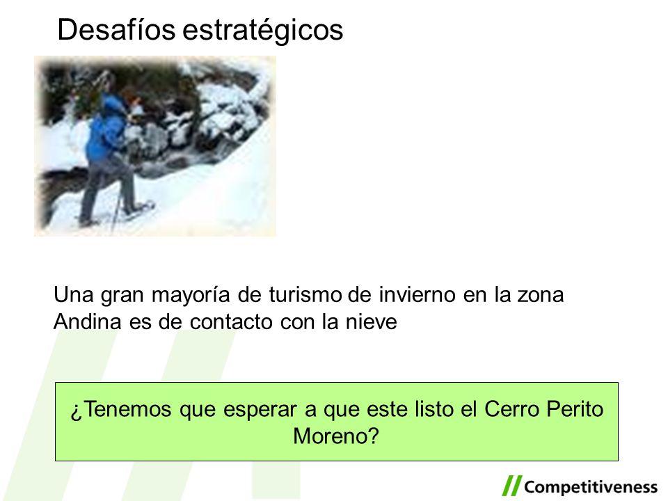 Desafíos estratégicos ¿Tenemos que esperar a que este listo el Cerro Perito Moreno? Una gran mayoría de turismo de invierno en la zona Andina es de co