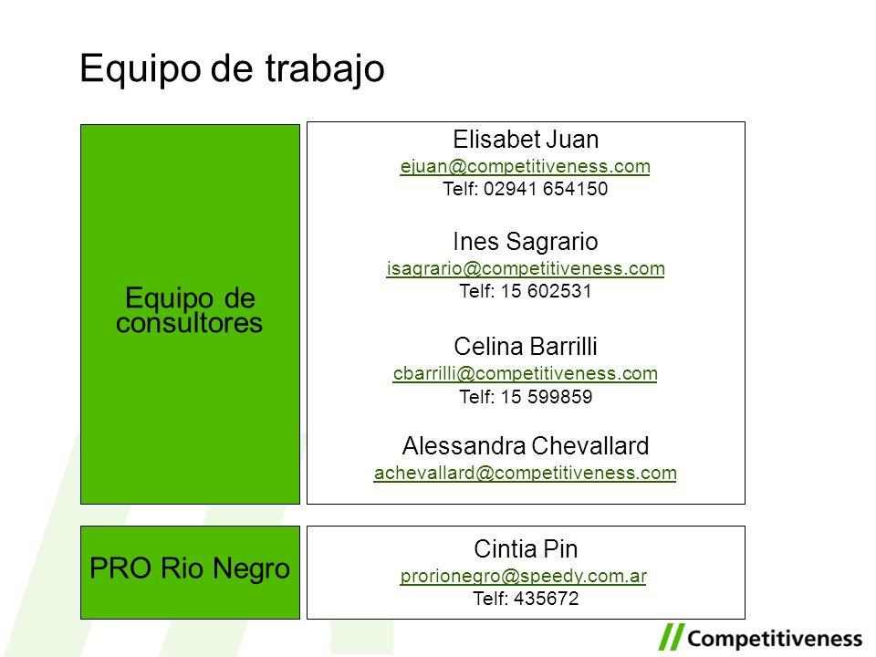 Equipo de trabajo Equipo de consultores PRO Rio Negro Elisabet Juan ejuan@competitiveness.com Telf: 02941 654150 Ines Sagrario isagrario@competitivene