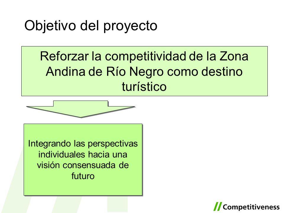 Objetivo del proyecto Reforzar la competitividad de la Zona Andina de Río Negro como destino turístico Poniendo en marcha acciones coordinadas para la mejora del destino Integrando las perspectivas individuales hacia una visión consensuada de futuro