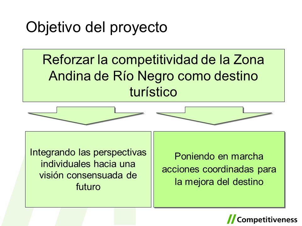 Objetivo del proyecto Reforzar la competitividad de la Zona Andina de Río Negro como destino turístico Poniendo en marcha acciones coordinadas para la