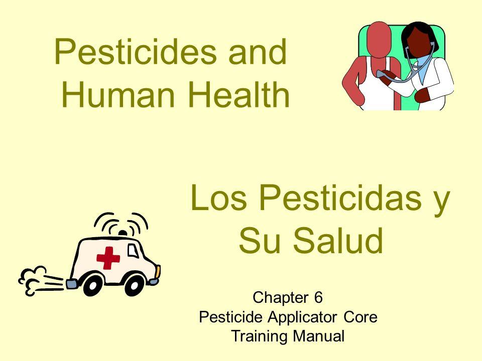 HAZARD = EXPOSURE x TOXICITY Toxicity - how poisonous the pesticide is Toxicidad - la capacidad del pesticida para causar daño Exposure - how pesticides enter the body Exposición - la manera en que los pesticidas entran en el cuerpo RIESGO = EXPOSICIÓN x TOXICIDAD