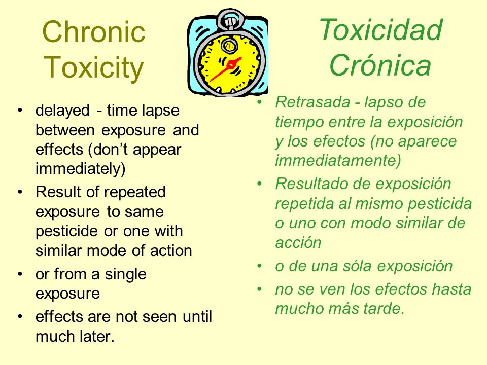 Chronic Toxicity delayed - time lapse between exposure and effects (dont appear immediately) Result of repeated exposure to same pesticide or one with
