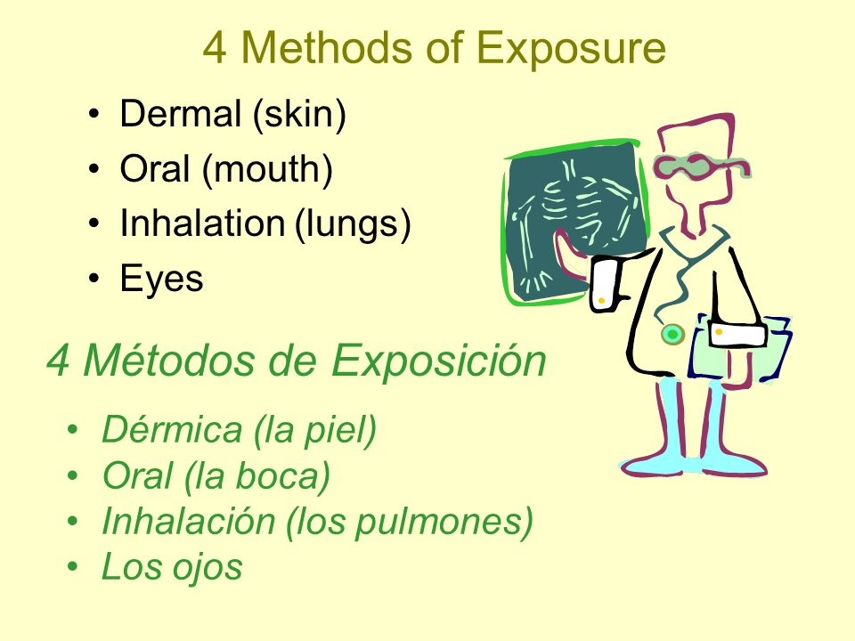 4 Methods of Exposure Dermal (skin) Oral (mouth) Inhalation (lungs) Eyes Dérmica (la piel) Oral (la boca) Inhalación (los pulmones) Los ojos 4 Métodos