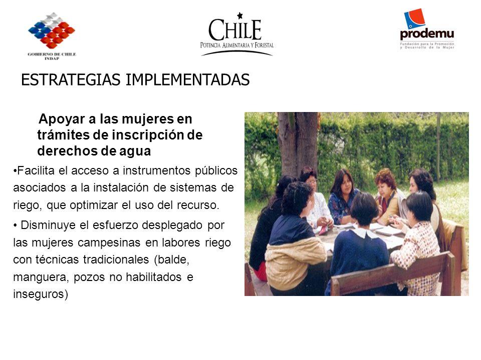 ESTRATEGIAS IMPLEMENTADAS Apoyar a las mujeres en trámites de inscripción de derechos de agua Facilita el acceso a instrumentos públicos asociados a l